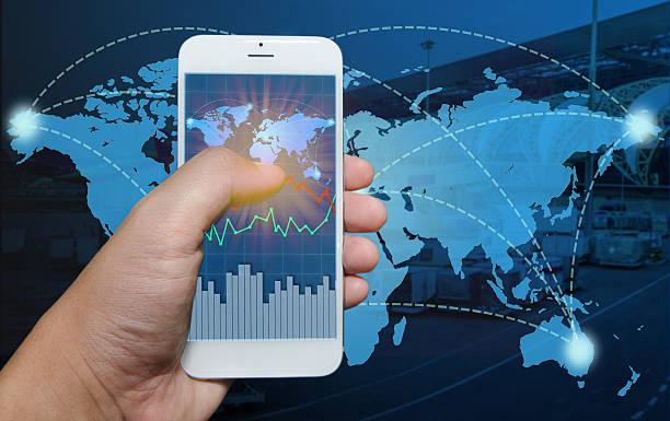 Smart phone view Business shipment graph. stock photo