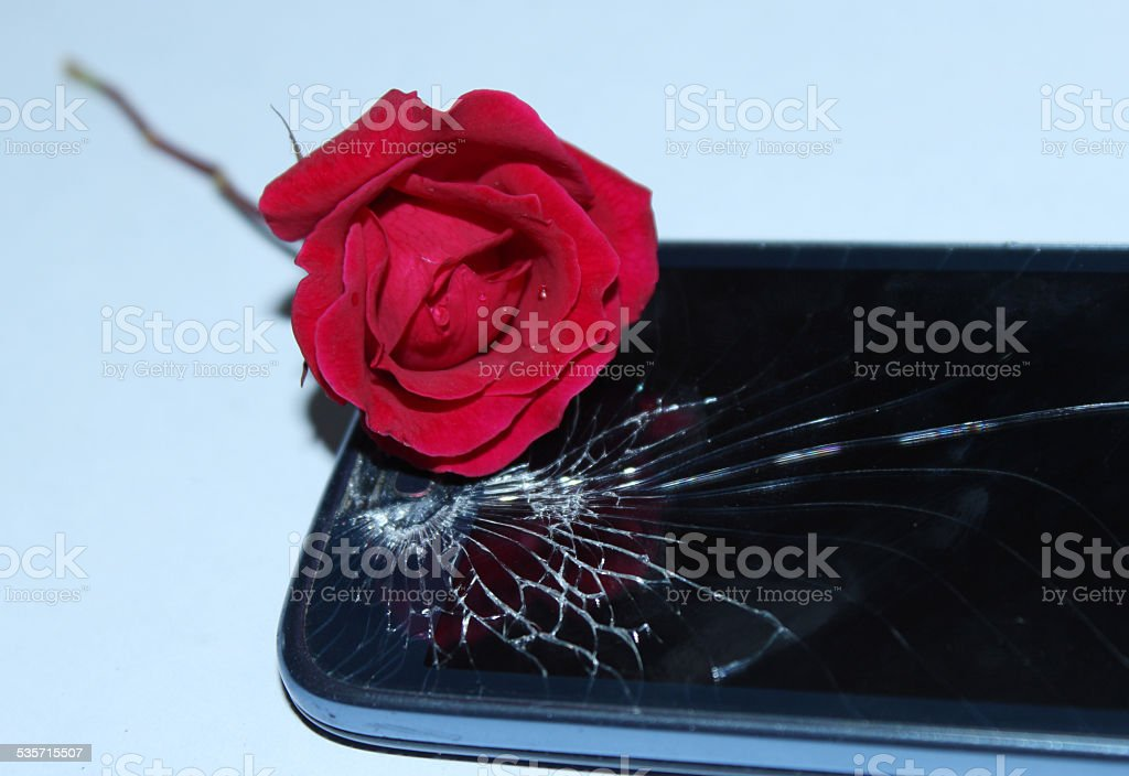 Smart phone with broken screen stock photo