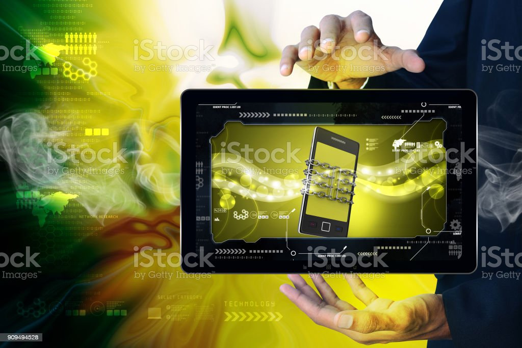 Smart phone with chain, safety concept stock photo