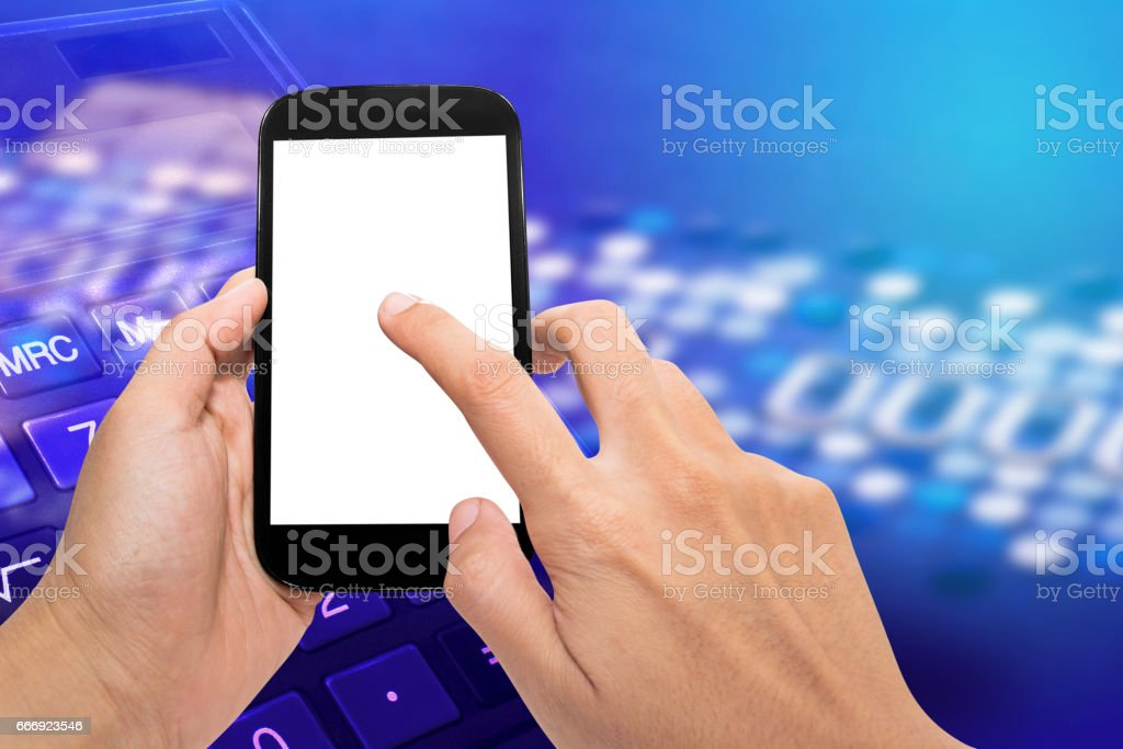 smart phone with credit card stock photo