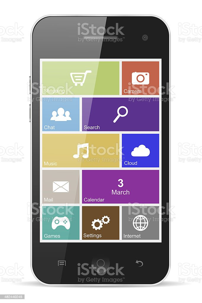 Smart phone with flat icons royalty-free stock photo