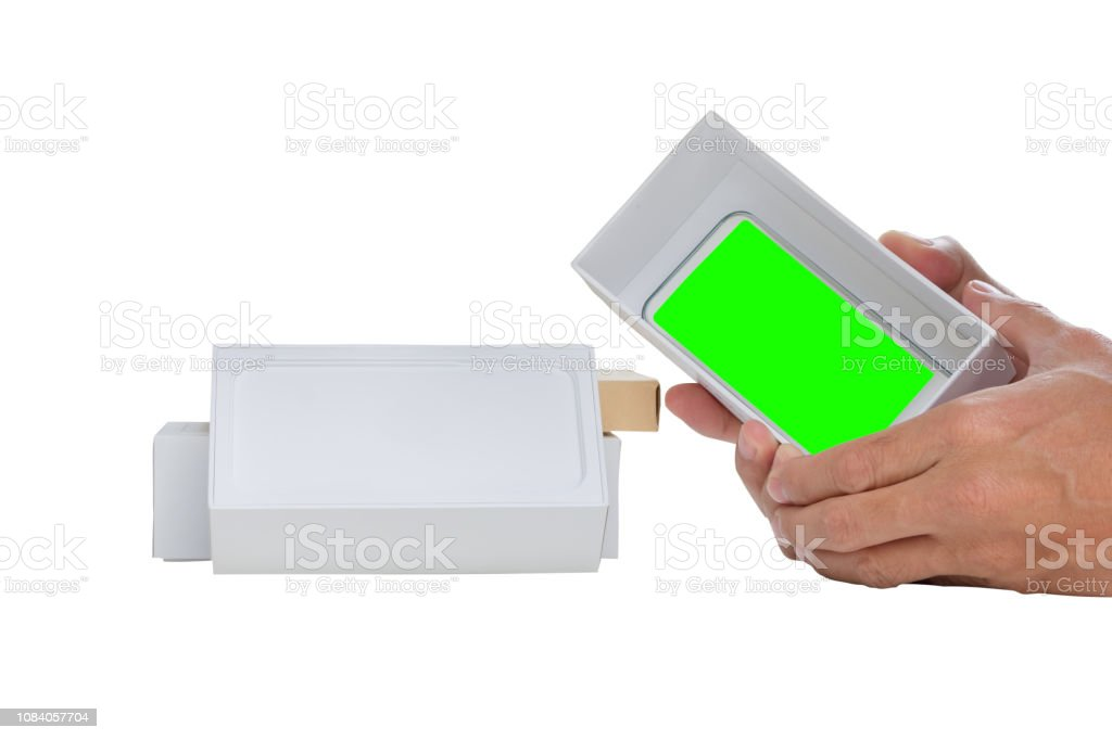 smart phone with green screen with boxes stock photo