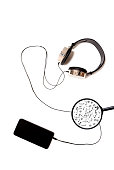 smart phone with isolated headphones on a white background with musical notes