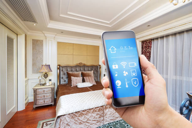 smart phone with modern bedroom stock photo