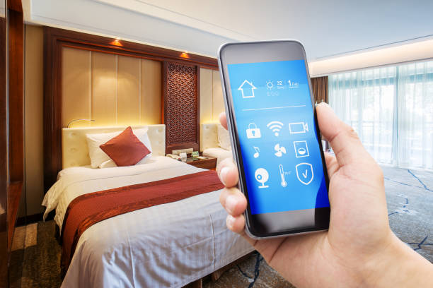 smart phone with modern twin bed room stock photo