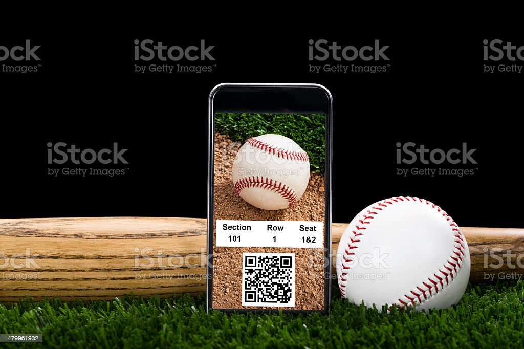 A Smart Phone displaying online baseball tickets with QR/Bar code,...