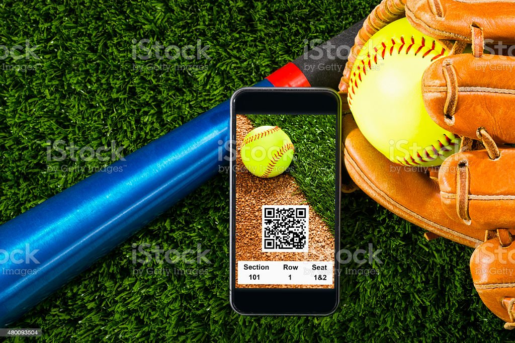 Smart Phone with online softball game tickets, with QR code stock photo