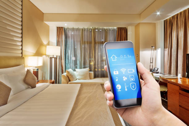 smart phone with smart home with modern bedroom stock photo