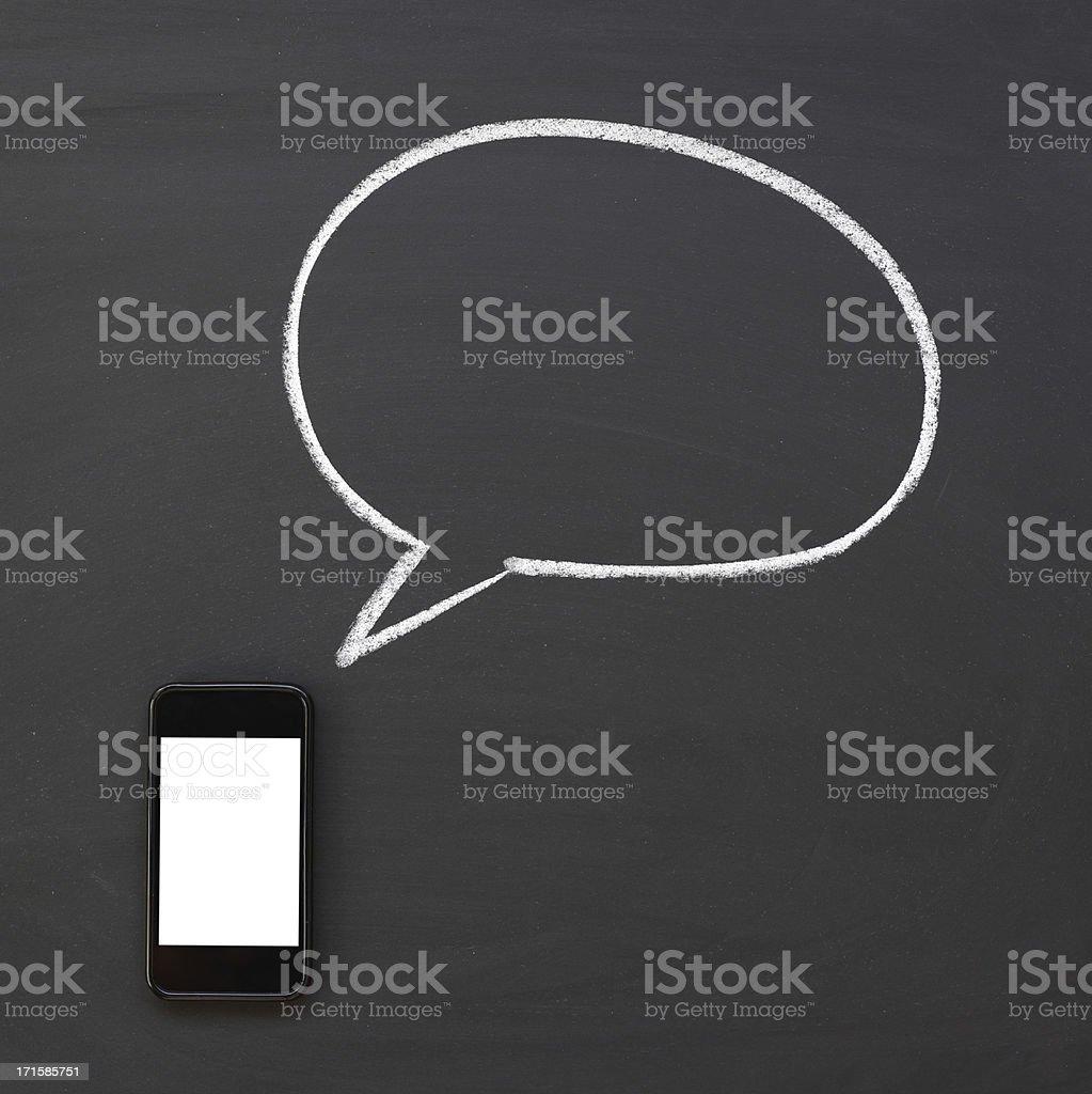Smart phone with speech bubble stock photo