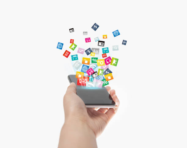Smart phone with technology icon of social media and internet stock photo