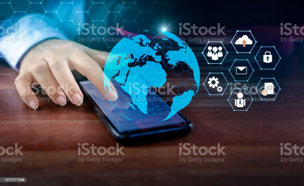 Smart Phones and Globe Connections Uncommon communication world Internet Business people press the phone to communicate in the Internet. Space put message Blue tone