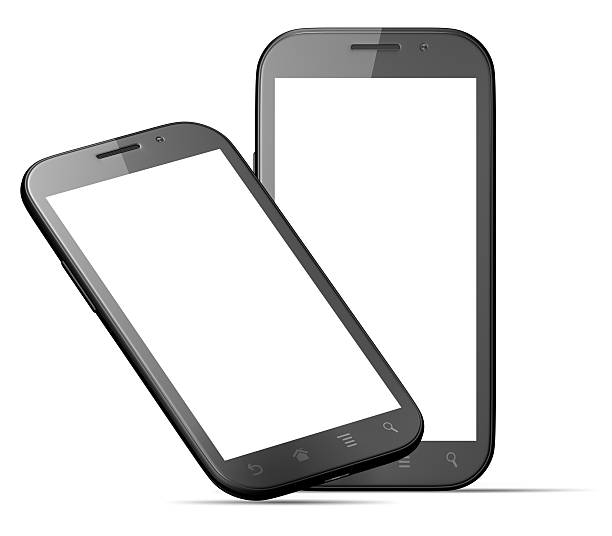 Smart phones with blank screen isolated on white stock photo