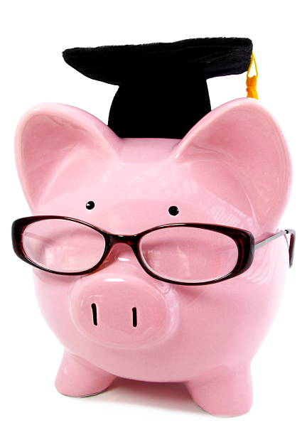 Smart Piggy and Graduation Cap stock photo