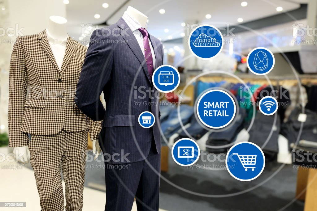 Smart retail and marketing concept. Icons of mobile phone , augmented reality , internet, chatbot , online shopping  with retail fashion shop mall background stock photo
