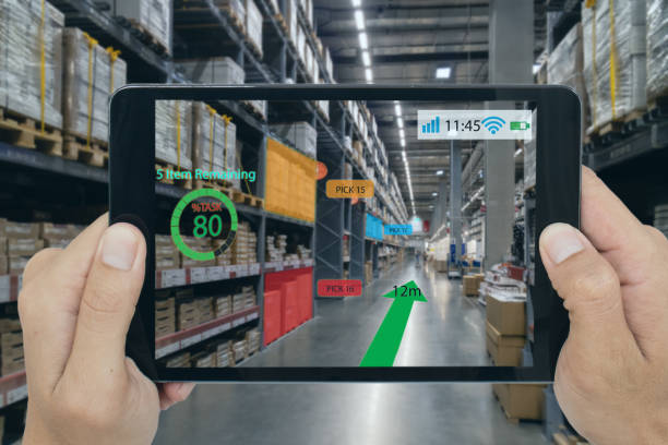 smart retail concept, a customer can check what data of real time insights into shelf status which report on a tablet from artificial intelligence(ai) smart glasses while scanning goods, price - augmented reality stock photos and pictures