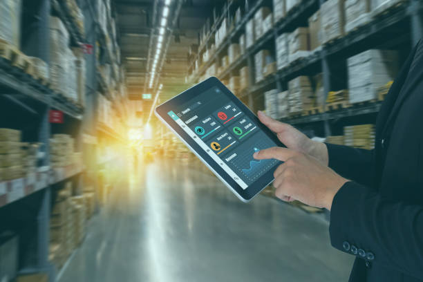 smart retail concept, man hand tyr to use machine deep learning with artificial intelligence to keep, collect, analysis data and behavior of customer who visit smart store, ware house to serve need stock photo