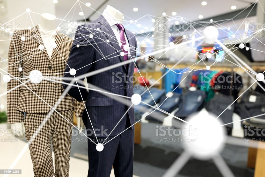 Smart retail , deep learning , neural networks and marketing concept. Atom connect with  retail flashion shop store background stock photo