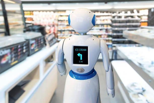 Smart retail , robot assistant service , robo advisor navigation technology in department store. Robot walk lead to guide customer to find items. stock photo