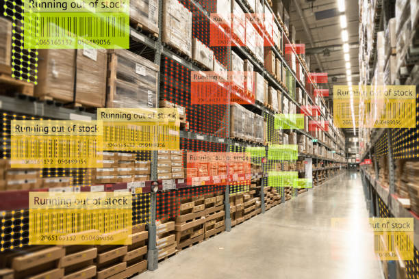 Smart retail use augmented reality mixed virtual reality technology to show the data analysis keep track big data when product running out of stock on shelve in smart warehouse. stock photo