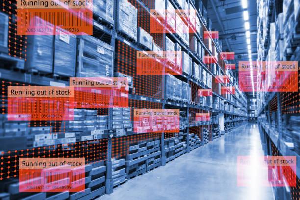 Intelligenter Einzelhandel nutzt die Augmented-Reality-Mixed-Virtual-Reality-Technologie, um zu zeigen, dass die Datenanalyse Big Data verfolgt, wenn das Produkt im Smart Lager nicht mehr vorrätig ist. – Foto