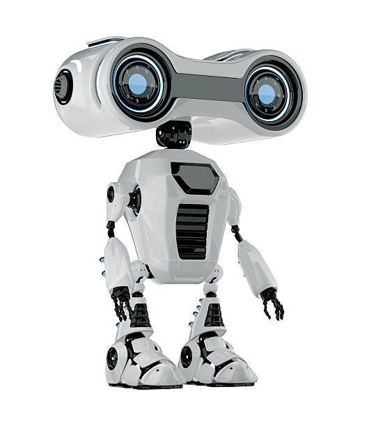 Smart retro robotic toy stock photo