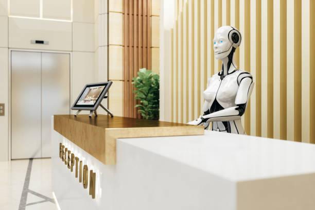 robot inteligente asistente de recepción - robot fotografías e imágenes de stock