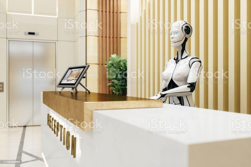 Intelligente Roboter-Assistent an der Rezeption – Foto