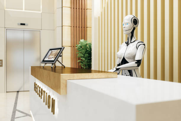 smart robot assistant on reception - cybernetic stock pictures, royalty-free photos & images