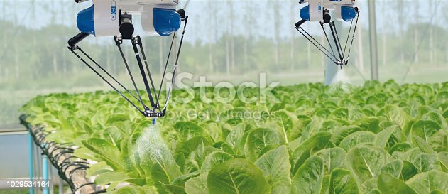1022530858istockphoto smart robotic in agriculture futuristic concept, robot farmers (automation) must be programmed to work to spray chemical,fertilizer or increase efficiency, growing a seed, harvesting, reduce time 1029534164