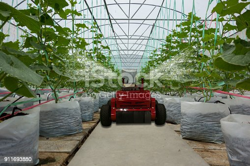 1022530858istockphoto smart robotic in agriculture futuristic concept, robot farmers (automation) must be programmed to work to spray chemical,fertilizer or increase efficiency, growing a seed, harvesting, reduce time 911693880