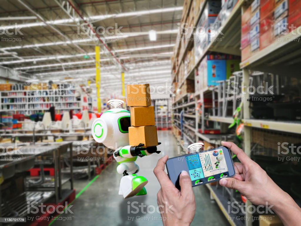 Smart robotic wifi control technology holding industry the box or...