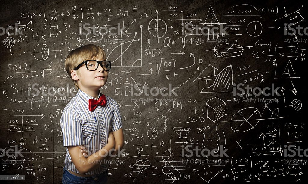 Smart schoolboy stock photo