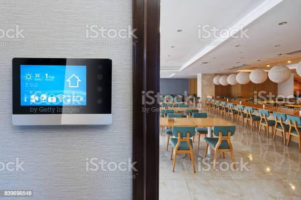 Smart screen on wall with modern cafeteria picture id839696548?b=1&k=6&m=839696548&s=612x612&h=pbd0jddqvmhy3xw6qvuixaym2a4pqgcx4bz6kjcn u8=