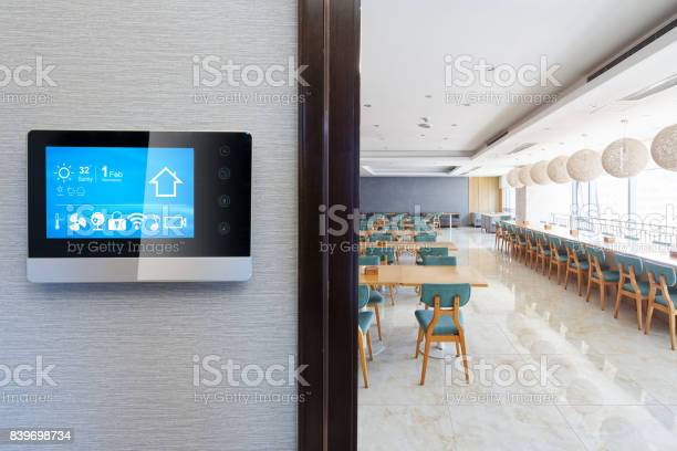 Smart screen on wall with modern cafeteria picture id839698734?b=1&k=6&m=839698734&s=612x612&h=c9g3lbx izbg ylx gmwfi8ey5sgmywhljlez2lle94=