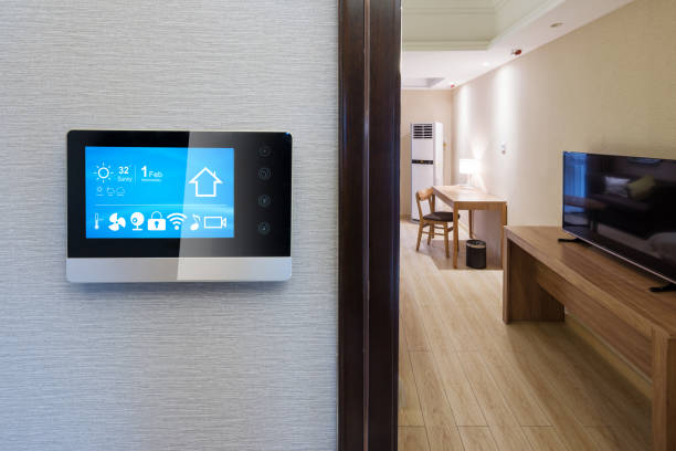 smart screen with modern bedroom - home automation stock photos and pictures