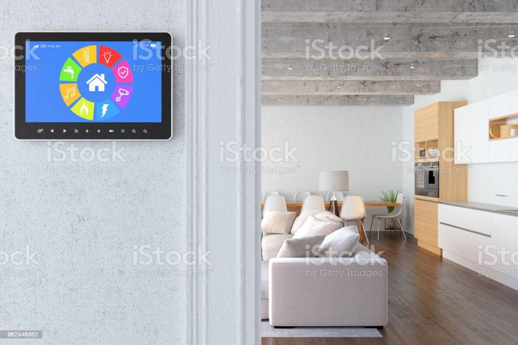 Tela inteligente com moderna sala de estar - foto de acervo