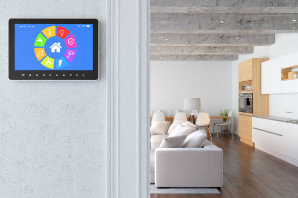 Smart screen with modern living room stock photo