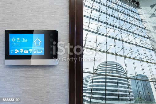 istock smart screen with smart home with glass window 883833192
