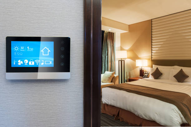smart screen with smart home with modern bedroom stock photo