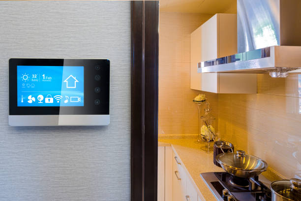 smart screen with smart home with modern kitchen stock photo