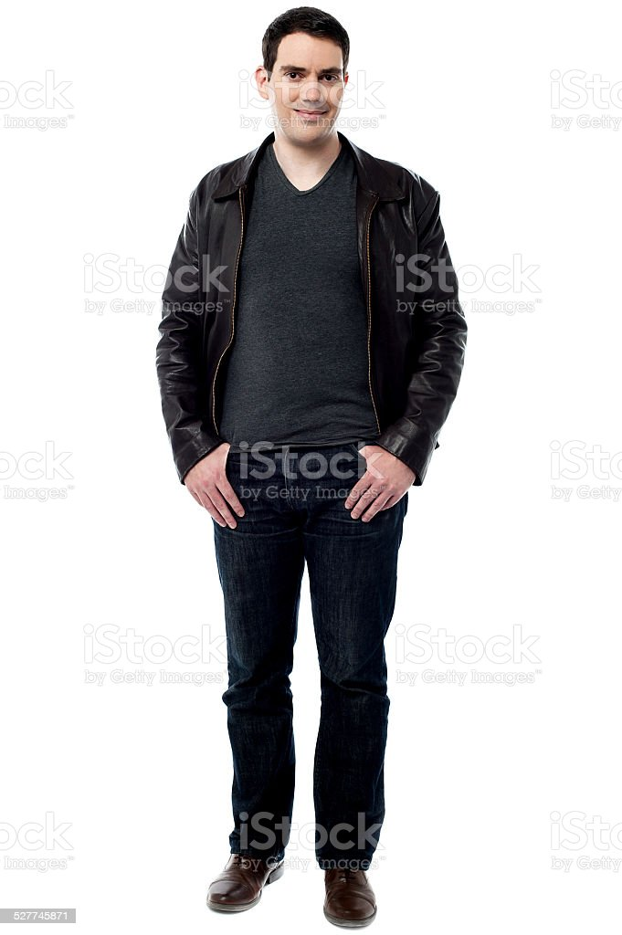 Smart smiling man posing in style stock photo