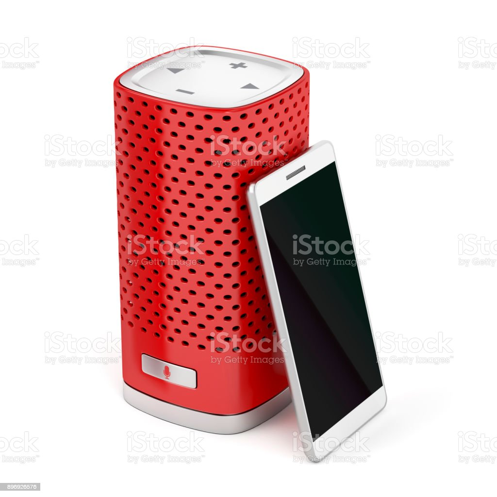 Smartphone y altavoces smart - foto de stock