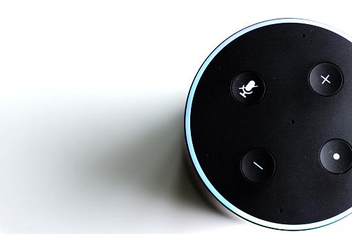 Smart speaker assistant for smart home - white background