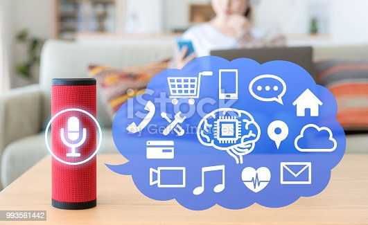 istock Smart speaker concept. AI speaker. 993561442