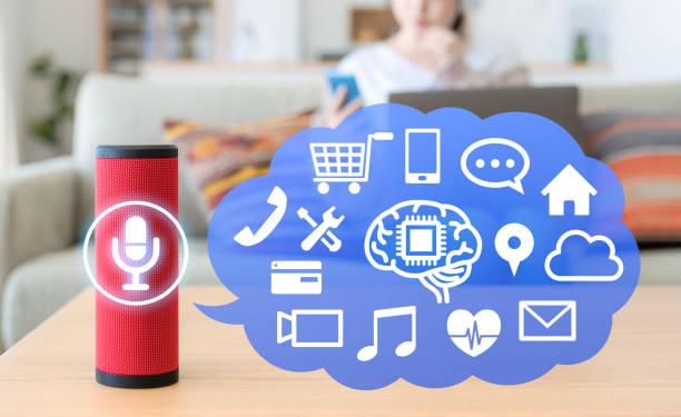 Smart speaker concept. AI speaker. stock photo