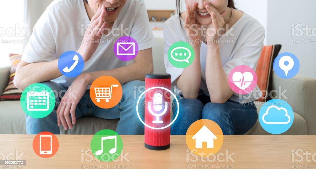 Smart speaker concept. AI speaker. foto stock royalty-free