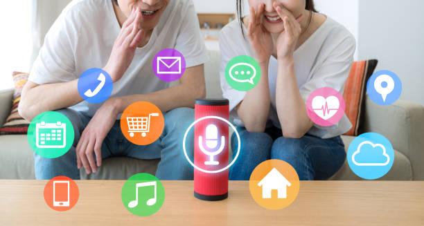 Smart speaker concept. AI speaker. Smart speaker concept. AI speaker. smart speaker stock pictures, royalty-free photos & images