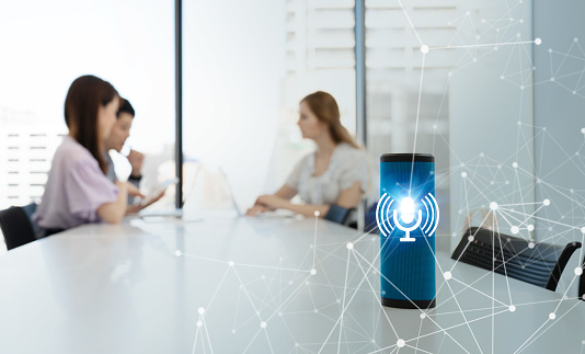 istock Smart speaker concept. AI speaker. Voice recognition. 1024463026