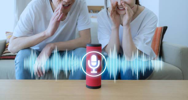 Smart speaker concept. AI speaker. Voice recognition. stock photo