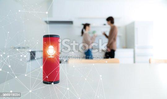 istock Smart speaker concept. AI speaker. Voice recognition. 966919034
